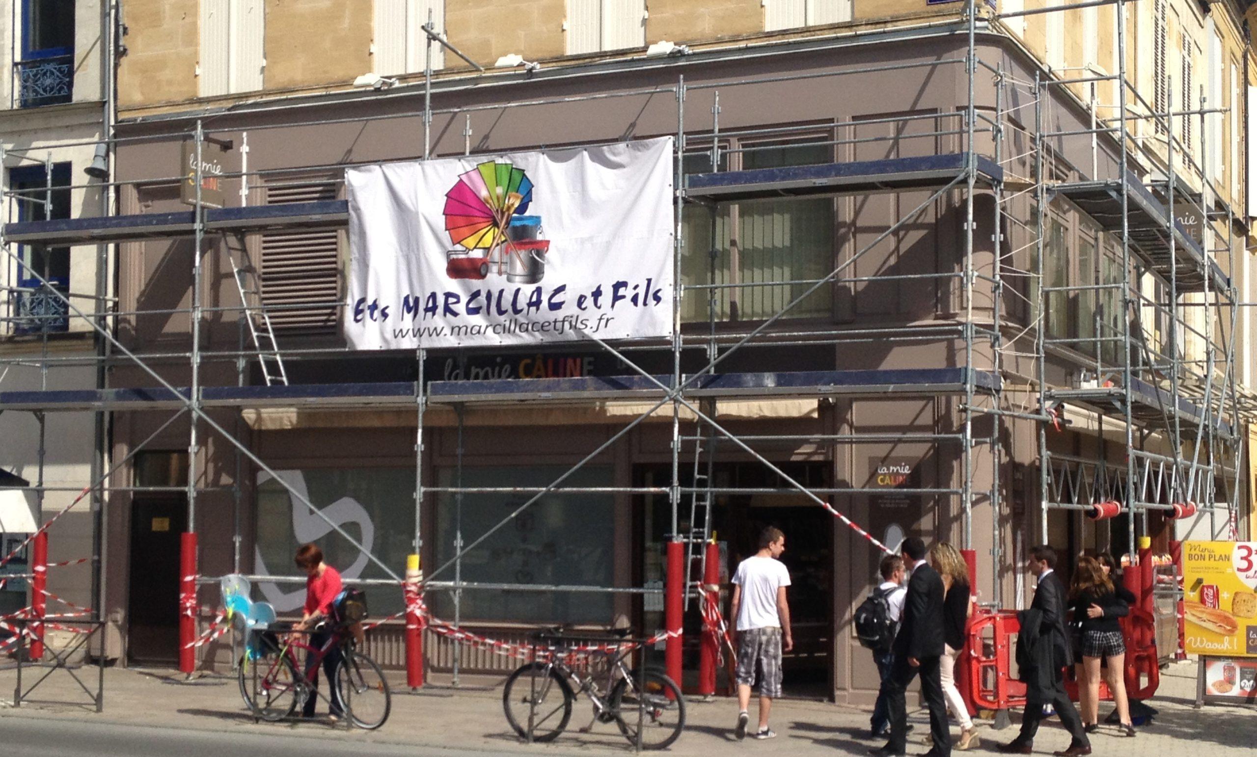 Rénovation extrérieure de la boulangerie La mie caline à Bergerac par la SARL Marcillac et Fils